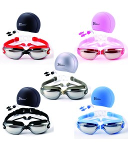 Swim Goggles With Cap Nose Clip Ear Plug Adult Anti-Fog HD Mirrored Swimming Set