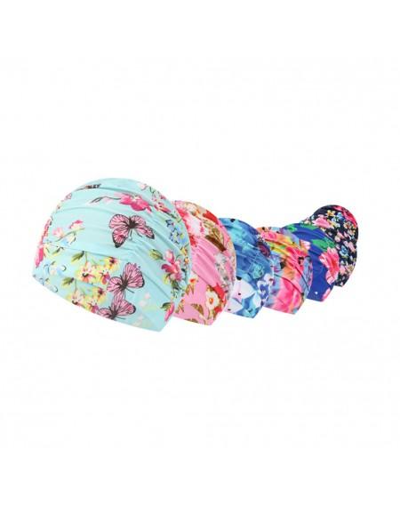 Women's Drape Stretch Swimming Cap Hot Spring Protect Long Hair Ears Pleated Flowers Printed Swim Pool Hat For Women Swimwear