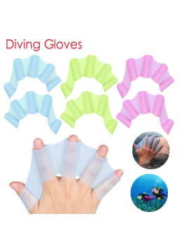 1 Pair Silicone Swim Webbed Gloves Training Diving Gloves Swimming Equipment for Women Men Kids