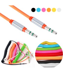 3.5 mm Car AUX Auxiliary Coiled Stereo Audio Cable Cord Stereo Audio Cable for PC Phone Male To Male