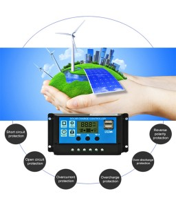 10A 12V/20A/30A 24V Solar Panel Charger Controller Battery Regulator Dual USB LCD Display New