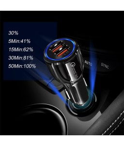 Car USB Charger Quick Charge 3.0 2.0 Mobile Phone Charger 2 Port USB Fast Car Charger for iPhone Samsung Tablet Car-Charger