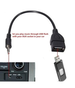 Audio AUX Jack 3.5mm Male to USB 2.0 Type A Female OTG Converter Adapter Cable