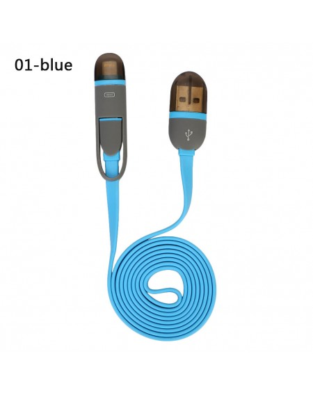 2 in 1 Multi-color Micro USB Cable Sync Data Charger Cable For IPhone 5 6 7 8 X For Samsung Xiaomi LG Android Phone