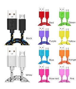 Micro USB Cable 1m 2m 3m Nylon Braided Fast Charging Cable USB Charger Cord For Huawei Xiaomi Samsung