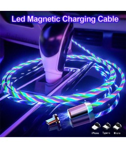 LED Data line Magnetic Micro USB Cable Fast Charging USB Type C Magic light Charging Cable For iphone11 Huawei P30 Pro
