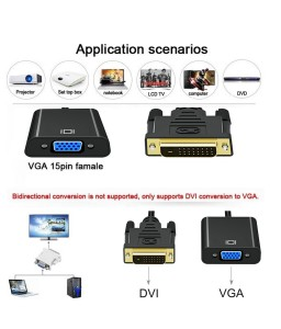 1080P DVI-D to VGA Adapter Cable 24+1 25 Pin DVI Male to 15 Pin VGA Female Video Converter Connector