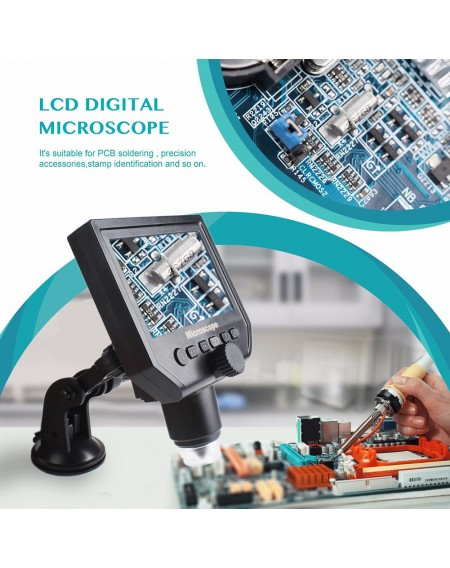 """1-600x 3.6MP USB Digital Electronic Microscope Portable 8 LED VGA Microscope With 4.3"""" HD OLED Screen For Pcb Motherboard Repair"""