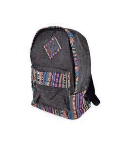 Canvas Bohemian Tribal Rucksack Backpack - Gray