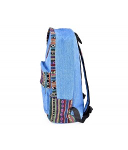 Canvas Bohemian Tribal Rucksack Backpack - Blue