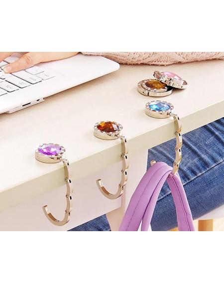 12 Pcs Colorful Folding Section Diamond Handbag Hook
