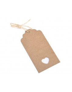 100 Pcs 10.5cm x 5.5cm Kraft Blank Hang Paper Tags with Hemp Rope
