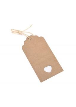 100 Pcs 10.5cm x 5.5cm Kraft Blank Hang Paper Tags with Hemp Rope