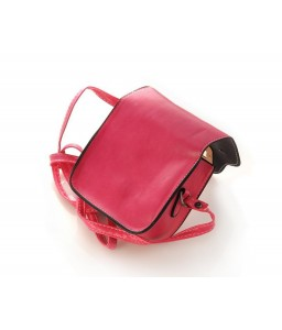 Exotic PU Leather Shoulder Bag for Women - Magenta