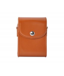 Simple PU Leather Shoulder Bag for Mirrorless Camera - Brown