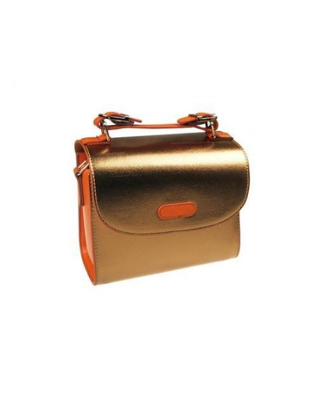 PU Leather Instax Camera Bag with Adjustable Shoulder Strap - Gold