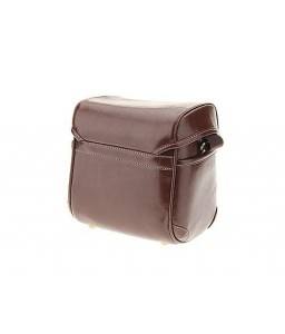 Vintage Style Leather Shoulder Bag for DSLR Camera - Dark Brown
