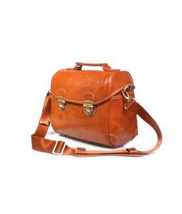 Retro DSLR Leather Shoulder Bag with Detatchable Strap - Light Brown