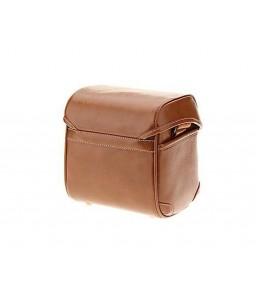 Vintage Style Leather Shoulder Bag for DSLR Camera - Light Brown
