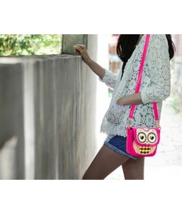 Cartoon Owl Print PU Leather Shoulder Bag - Magenta