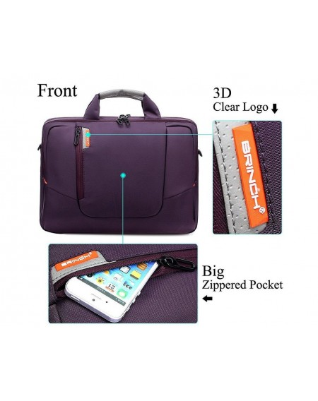 "15.6"" Nylon Shoulder Bag with Detachable Shoulder Strap - Purple"
