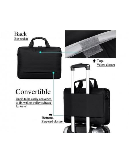 """15.6"""" Nylon Shoulder Bag with Detachable Shoulder Strap - Black"""
