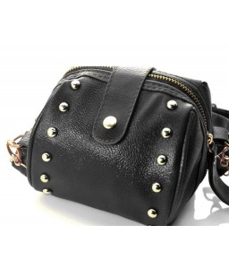 Chic Mini Shoulder Bag with Detatchable Strap - Black