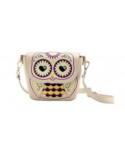 Cartoon Owl Print PU Leather Shoulder Bag - Beige