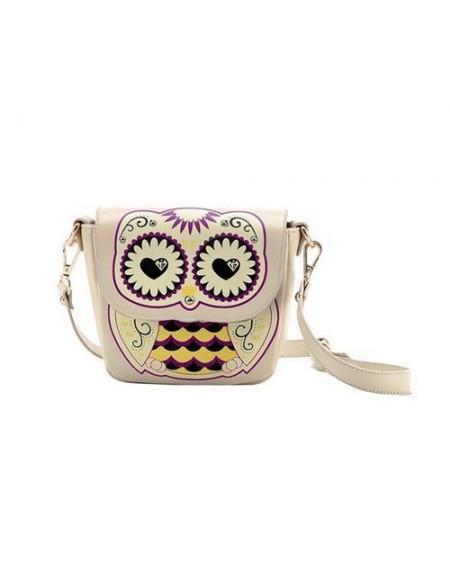 Cartoon Owl Print PU Leather Shoulder Bag - Beige